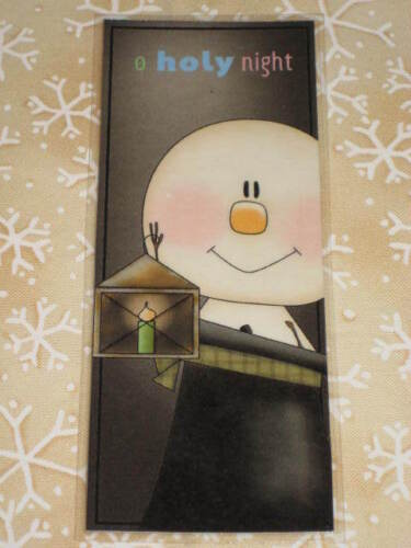 PRIMITIVE CHRISTMAS WINTER LAMINATED BOOKMARK SNOWMAN HOLY NIGHT CL12-5 in Books, Accessories, Bookmarks | eBay