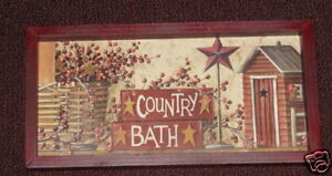 PRIMITIVE COUNTRY BATH AND BERRIES FRAMED WALL DECOR in Home & Garden, Home Decor, Posters & Prints | eBay
