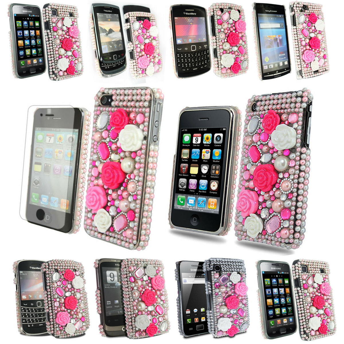 Series Bling Flower Rhinestone Hot Pink Mobile Phone Case Cover