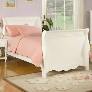 Princess girls white full sleigh bed bedroom furniture ebay Girls white bedroom furniture