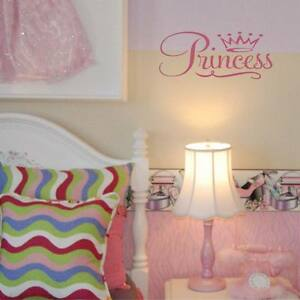 Princess with tiara wall decal princess theme bedroom vinyl lettering wall art ebay