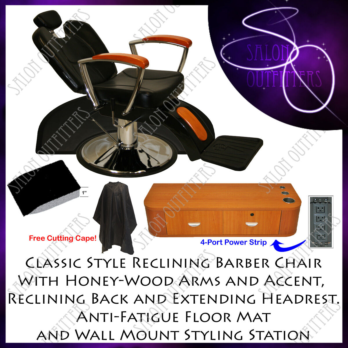 PROFESSIONAL WOOD ARM HYDRAULIC BARBER CHAIR STYLING STATION MAT SALON