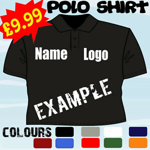 Pub business work wear personalised logo t polo shirt ebay for Work polo shirts with logo