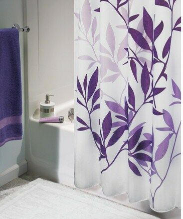 "PURPLE LEAVES on WHITE FABRIC SHOWER CURTAIN ~ WASHABLE ~72"" x 72"" ~ NEW in Home & Garden, Bath, Shower Curtains 