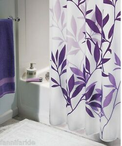 Purple Leaves on White Fabric Shower Curtain Washable 72
