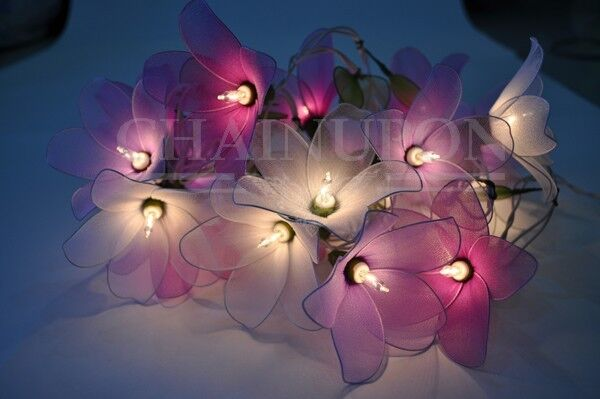 Purple tone flower string floral patio fairy decor teen girl room wedding lights ebay for Young woman bedroom and string lights