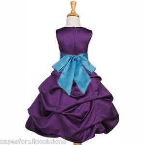 Purple turquoise blue bridesmaid wedding flower girl dress 2 4 6 8 9
