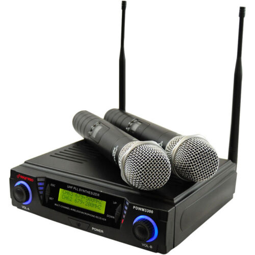 PYLE PDWM3300 Wireless Professional UHF Dual Channel Microphone System w/ 2 Mics in Musical Instruments & Gear, Pro Audio Equipment, Microphones | eBay