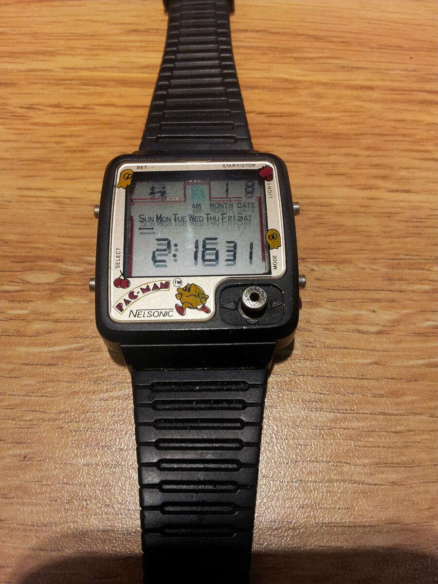 Pac Man Nelsonic Digital LCD Game Watch 1980s RARE Mint $250