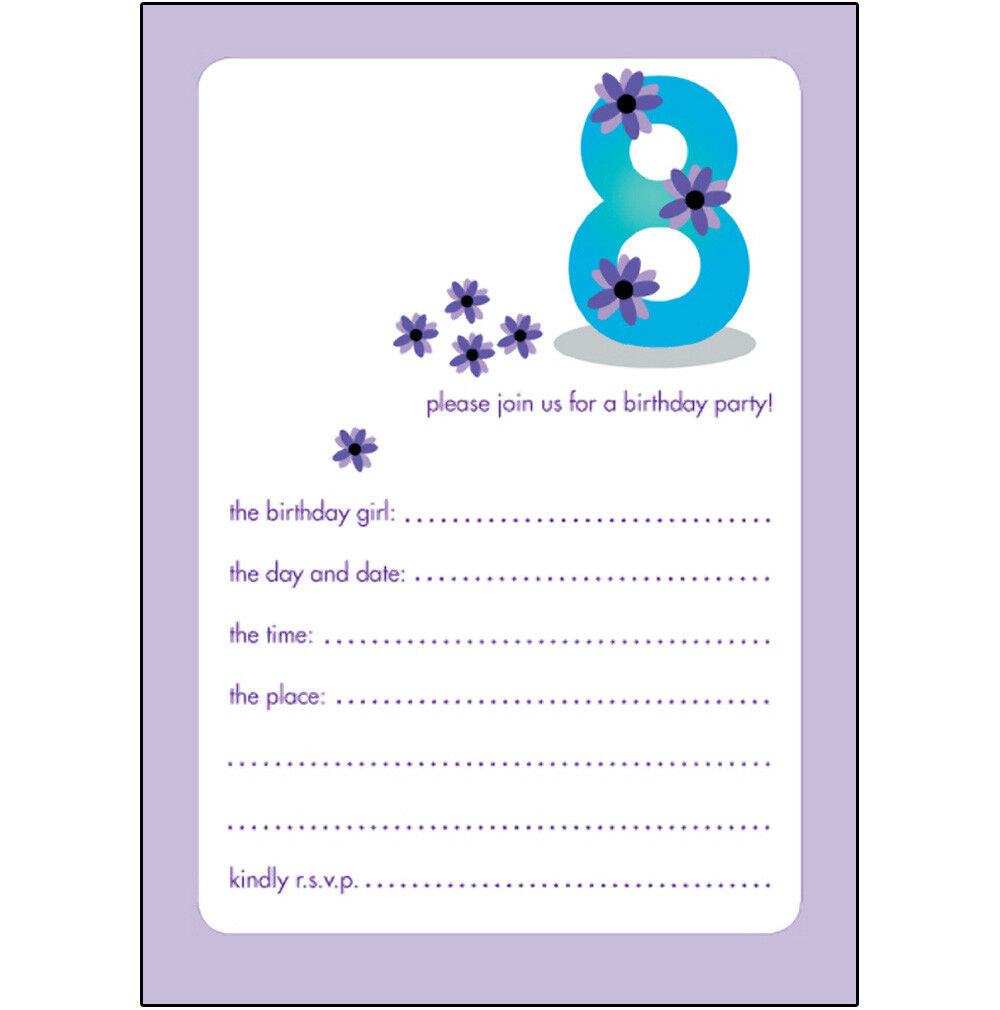 Pack of 10 Childrens Birthday Party Invitations 8 Years Old Girl BPIF