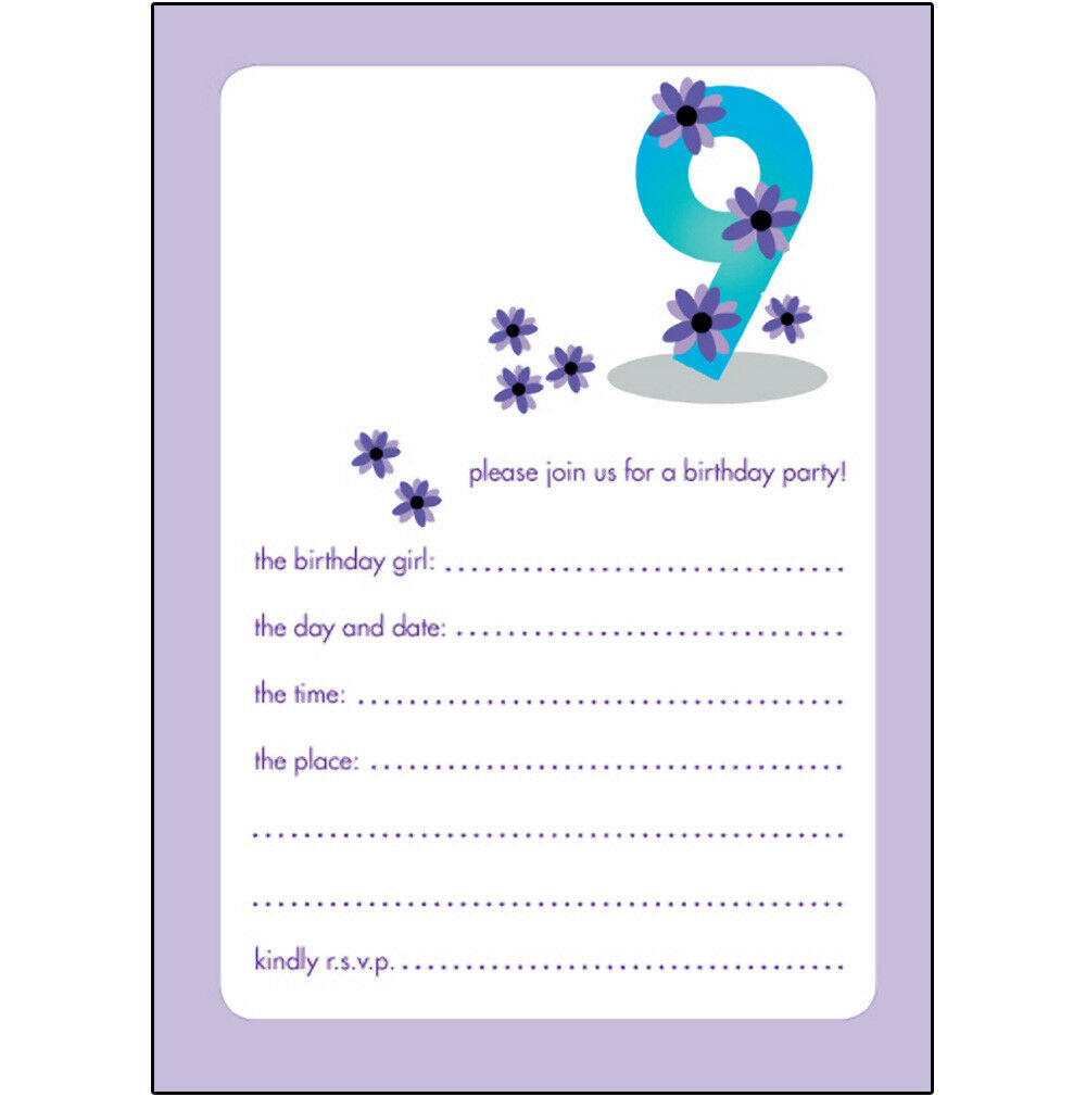 Pack of 10 Childrens Birthday Party Invitations 9 Years Old Girl BPIF