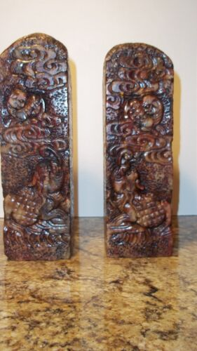 Pair Chinese Jade Sculpture Carving Pillar Bolder Hand Carved Signed Jade Cong? in Antiques, Asian Antiques, China | eBay