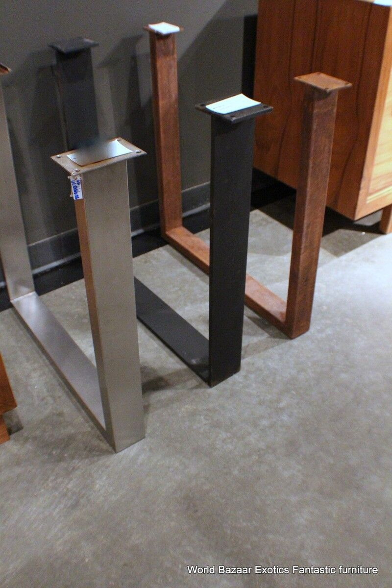 details about a pair dining table slab legs stainless steel flat iron