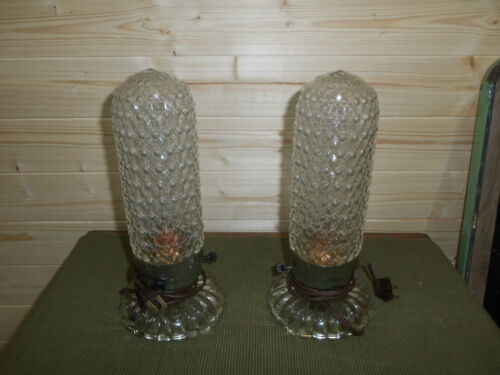 Pair Of Vintage Clear Glass Boudoir Lamps in Collectibles, Lamps, Lighting, Lamps: Electric | eBay
