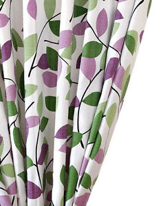 Pair Of Curtains W Tiebacks Cotton Canvas Purple Green On