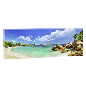 panoramabild leinwand keilrahmen meer strand xxl 150cm 50cm seychellen 207 ebay. Black Bedroom Furniture Sets. Home Design Ideas