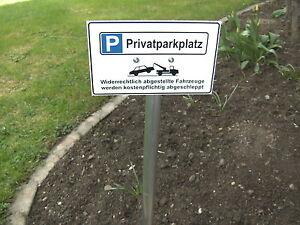 parkplatz schild privatparkplatz mit pfosten 1 0 mtr lang ebay. Black Bedroom Furniture Sets. Home Design Ideas