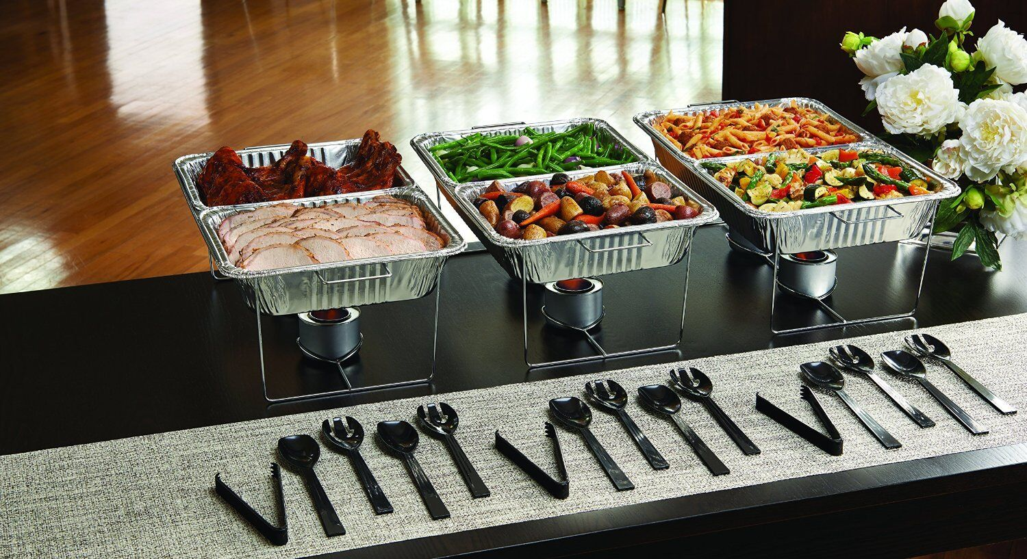 party essentials set serving buffet 33 pc food tray forks spoons tongs chafing ebay. Black Bedroom Furniture Sets. Home Design Ideas