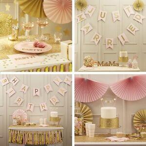 pastell hochzeit deko party geburtstag dekoration set gold. Black Bedroom Furniture Sets. Home Design Ideas