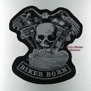 Patches-Aufbuegler-Aufnaeher-Motor-mit-Totenkopf-Rockabilly-Biker-Born