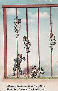 Patriotische-Postkarte-Stangenklettern-das-strengt-an-Feldpost-nach-Muenchen