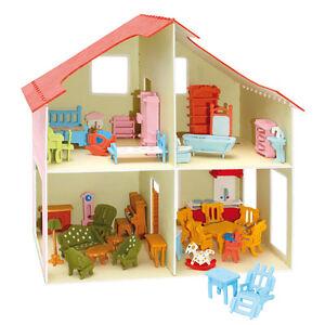 pebaro holzbausatz puppenhaus mit m bel zum selber bauen gestalten holz neu. Black Bedroom Furniture Sets. Home Design Ideas