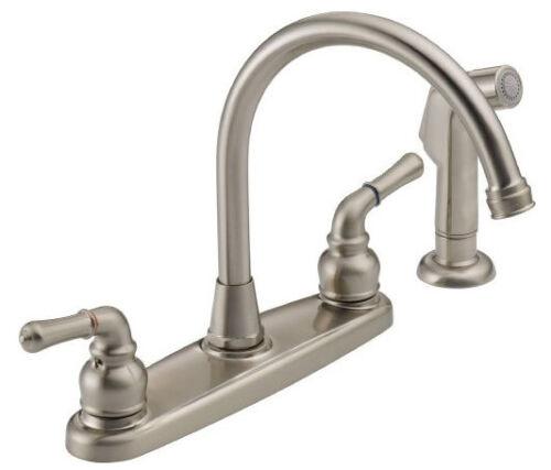 Peerless WAS01XNS Two Handle Kitchen Faucet and Sidespray - Satin Nickel in Home & Garden, Home Improvement, Plumbing & Fixtures   eBay