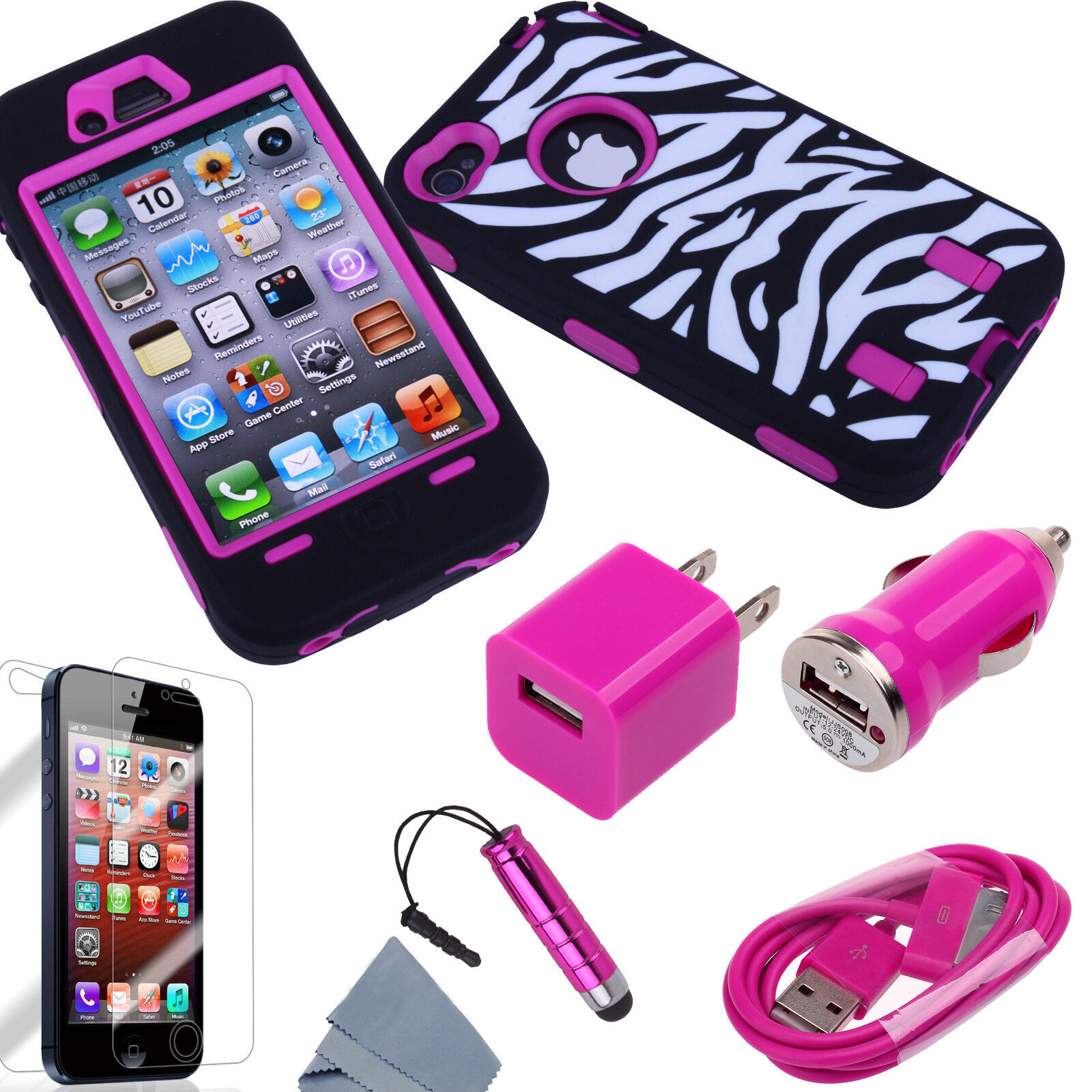 Pen+Rose Rugged Matte Rubber Hard Case Cover For iPhone 4S 4G w/ Screen Protect