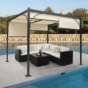pergola granada garten pavillon stabiles 6cm alu gestell schiebedach 3x3m ebay. Black Bedroom Furniture Sets. Home Design Ideas