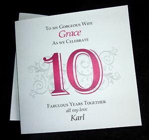 Personalised 1st 2nd 5th 10th 25th 40th Etc Wedding Anniversary Card For WIFE