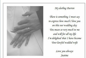 Personalised Poem To My Husband On Our Wedding Day Bride To Groom