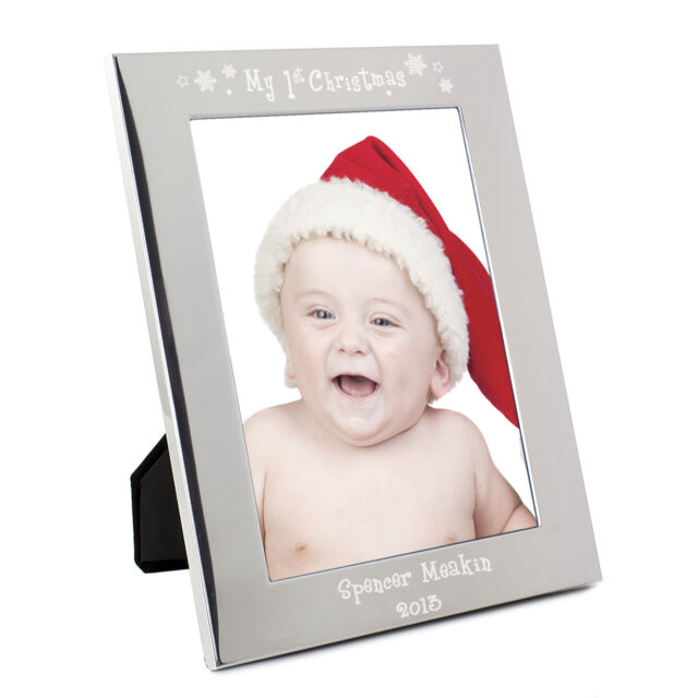 Personalised Silver My 1st Christmas 5x7 Photo Frame - Engraved Free ...