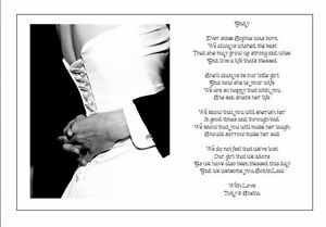 Personalised Wedding Day Poem Gift From Brides PARENTS TO SON IN LAW