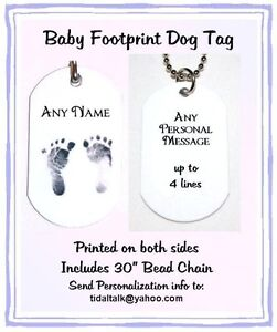 Personalized-BABY-NAME-FOOTPRINT-Photo-ID-Metal-DOG-TAG-Necklace-2-Side-Print