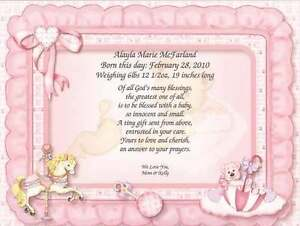 baby girl poem dob weight length customized gift for baby ebay