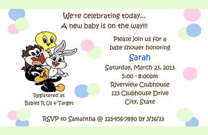 Personalized Baby Looney Tunes Baby Shower Invitations | eBay