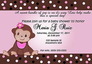 personalized baby monkey baby shower girl invitation ebay