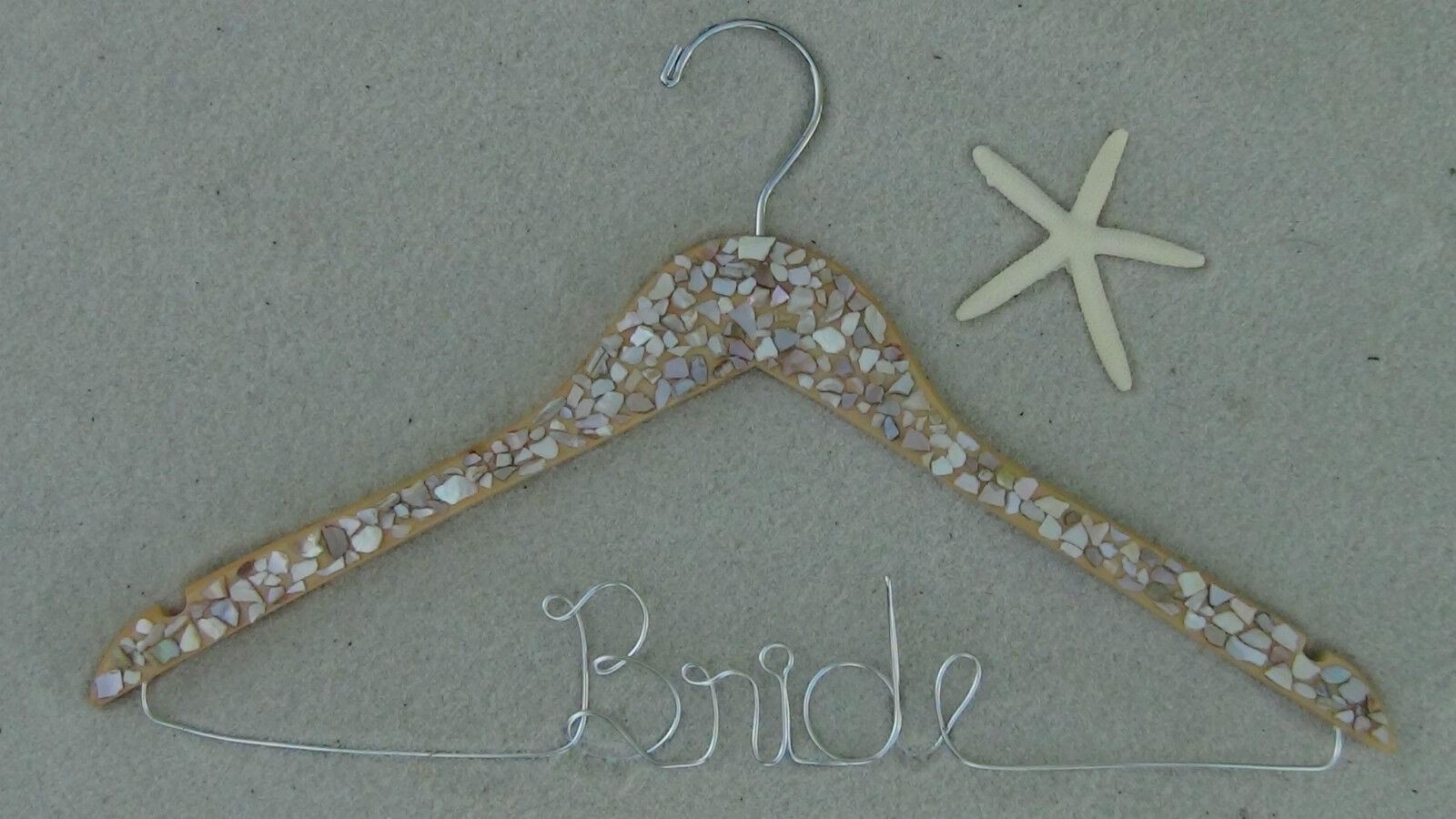 personalized bridal bridesmaid wedding name wood hanger with sea