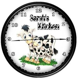 Country Kitchen Wall Decor on Itm Personalized Cow Country Kitchen Decor Wall Clock  160934072131