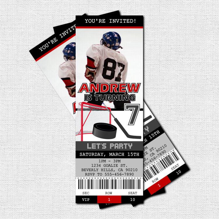 Personalized Hockey Ticket Birthday Invitations Printable