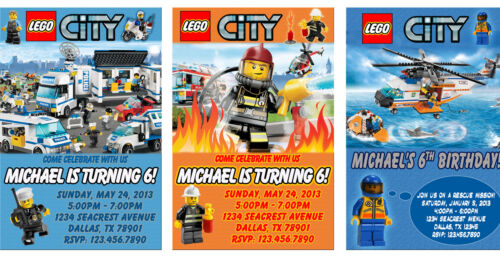 Personalized LEGO City Birthday Party Invitations - U-Print in Specialty Services, Printing & Personalization, Invitations & Announcements | eBay