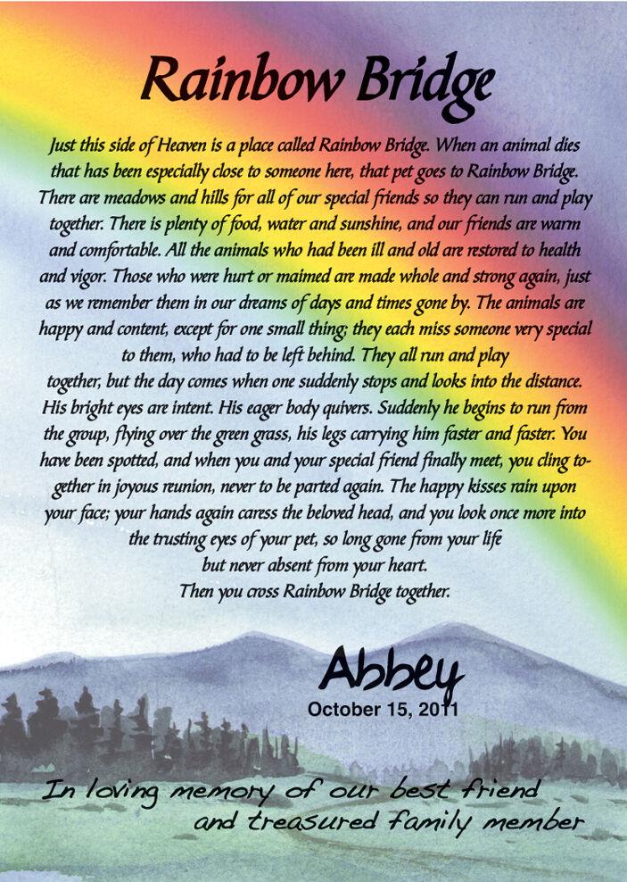 Rainbow Bridge 5x7 Pet Memorial Poem Ready To Frame Sku# 977 2