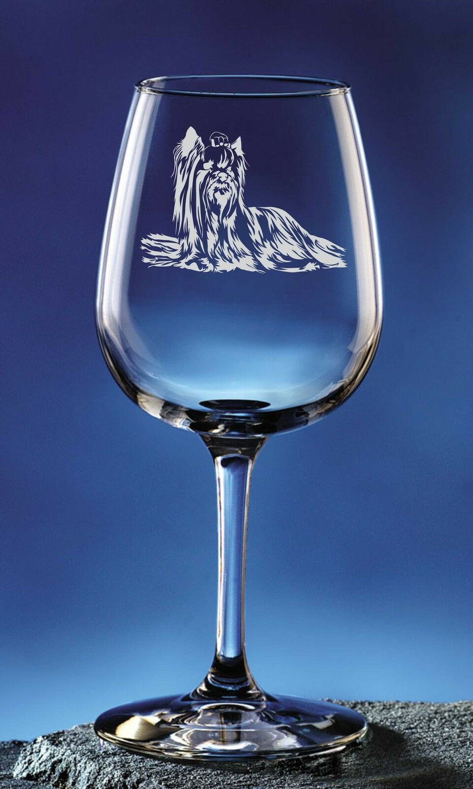 Personalized Yorkshire Terrier Pet Dog Etched Wine Glass 12.75oz