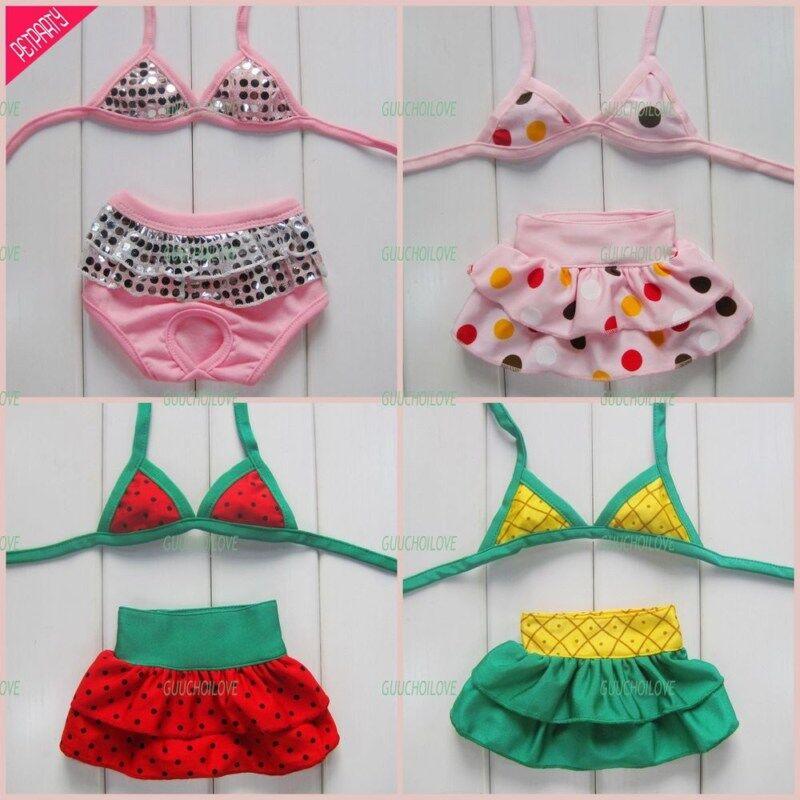Pet Dog Clothes Bikini Dress Swimming Suit Bar Pink ★