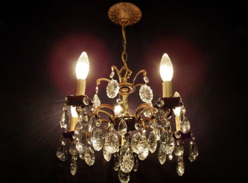 Petite Vintage / Antique Brass Crystal 5 Light Fixture Portuguese Chandelier in Antiques, Architectural & Garden, Chandeliers, Fixtures, Sconces | eBay