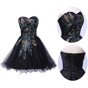 Pfau-Kurz-Ballkleid-Abendkleid-Hochzeitskleid-Partykleid-Gr-34-36-38-40-42-44-46