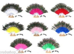 Pfauenfedern-Faecher-Dekofaecher-Tanzfaecher-viele-Farben