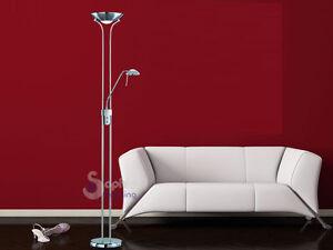 Piantana lampada da terra a stelo moderna acciaio cromato luce lettura salotto  eBay