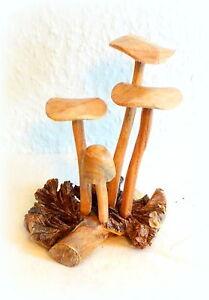 Pilze holz pilzgruppe skulptur figur handarbeit dekoration for Dekoration pilze