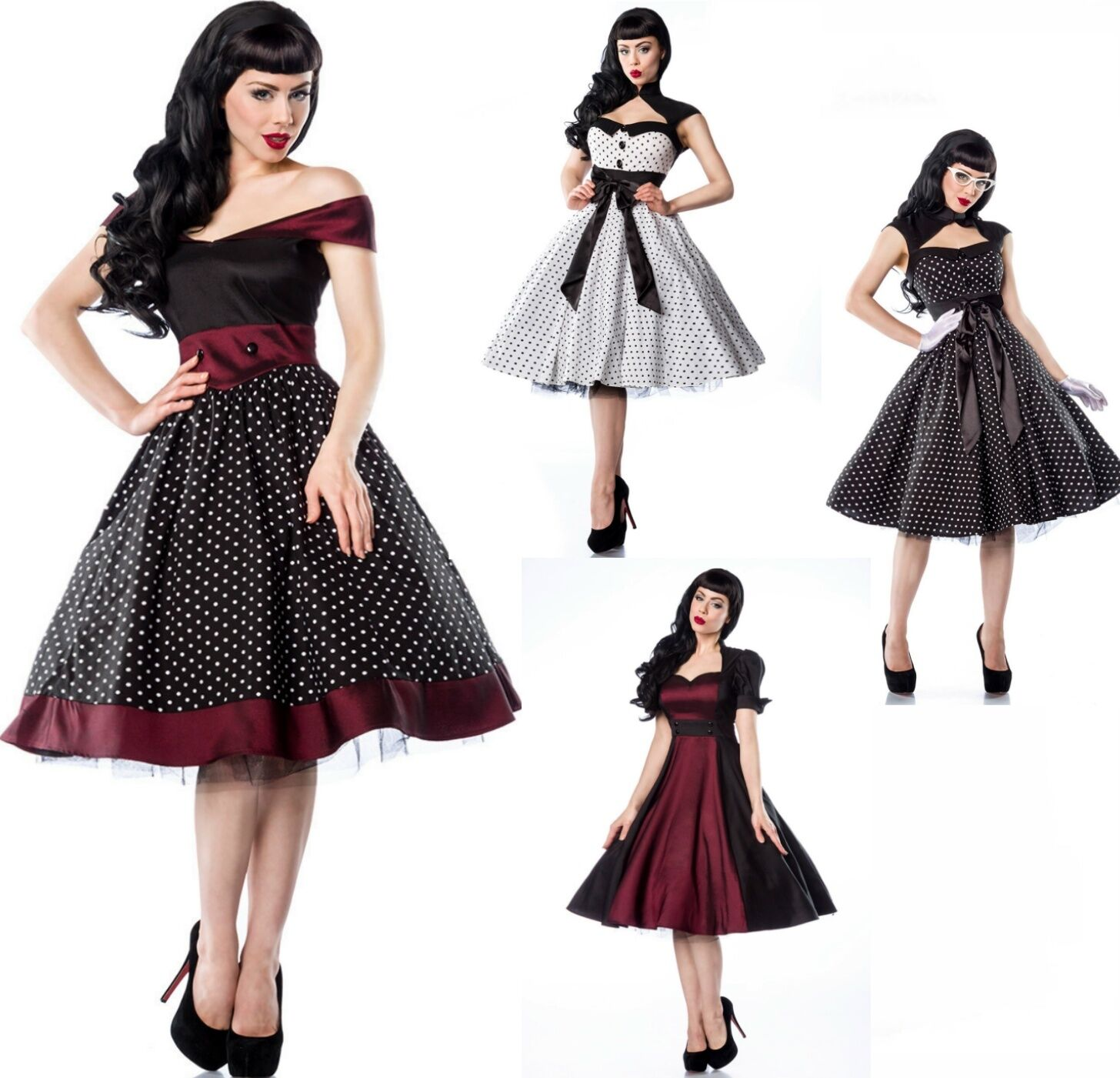 atx pin up vintage 50er kleid rockabilly tanzkleid petticoat rock n roll 36 46 ebay. Black Bedroom Furniture Sets. Home Design Ideas
